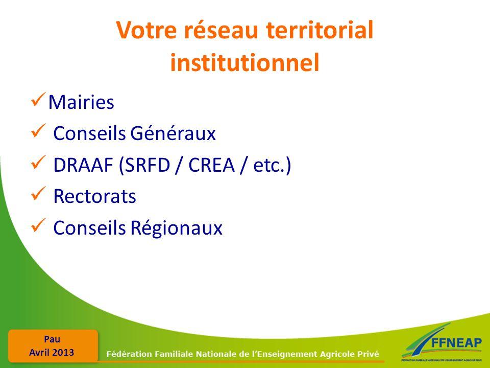 Votre réseau territorial institutionnel