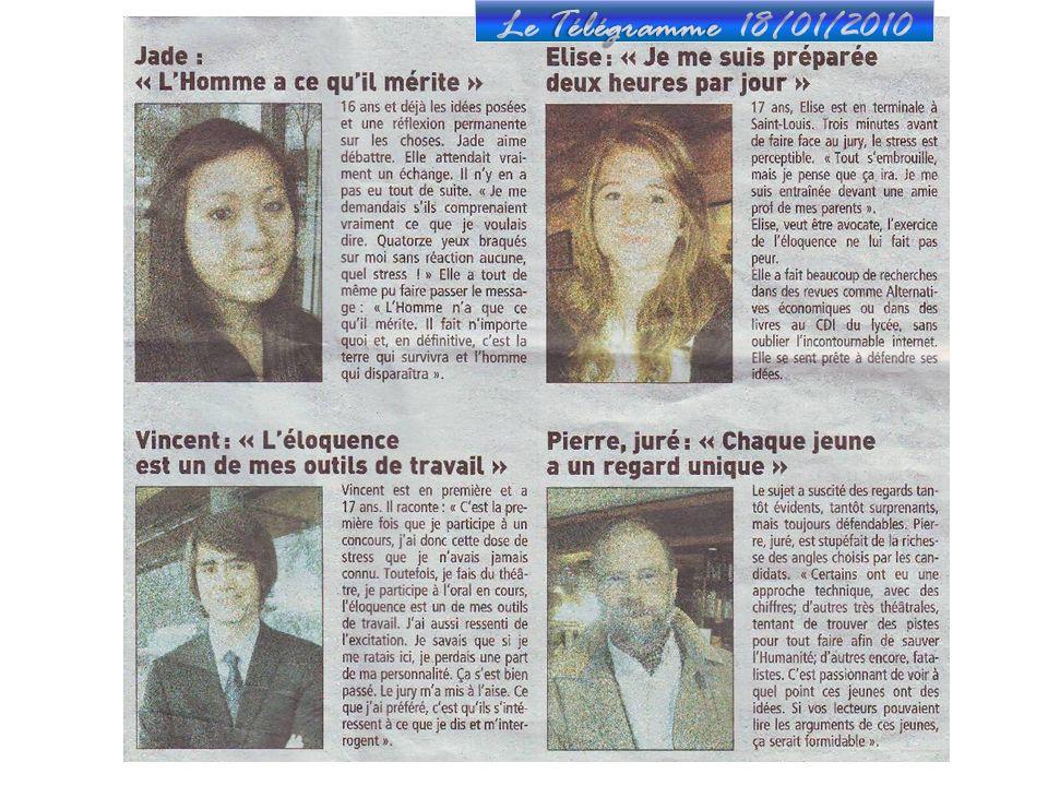 Le Télégramme 18/01/2010