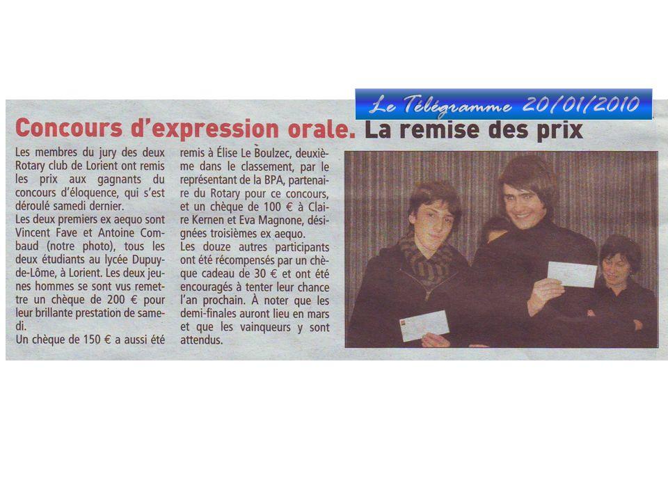 Le Télégramme 20/01/2010