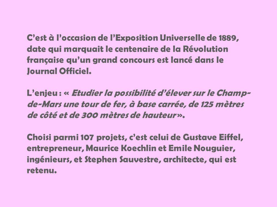 C'est à l'occasion de l'Exposition Universelle de 1889, date qui marquait le centenaire de la Révolution française qu'un grand concours est lancé dans le Journal Officiel.