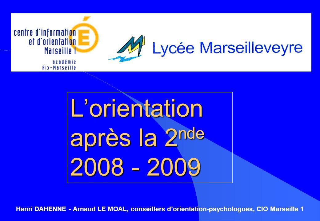 L'orientation après la 2nde 2008 - 2009