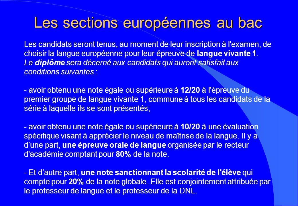 Les sections européennes au bac
