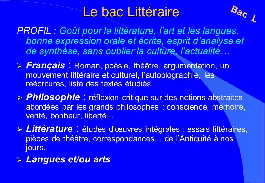 Le bac Littéraire Bac L.