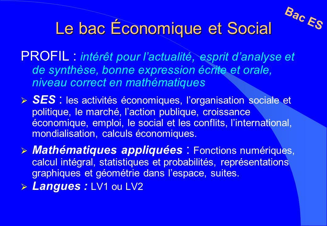Le bac Économique et Social