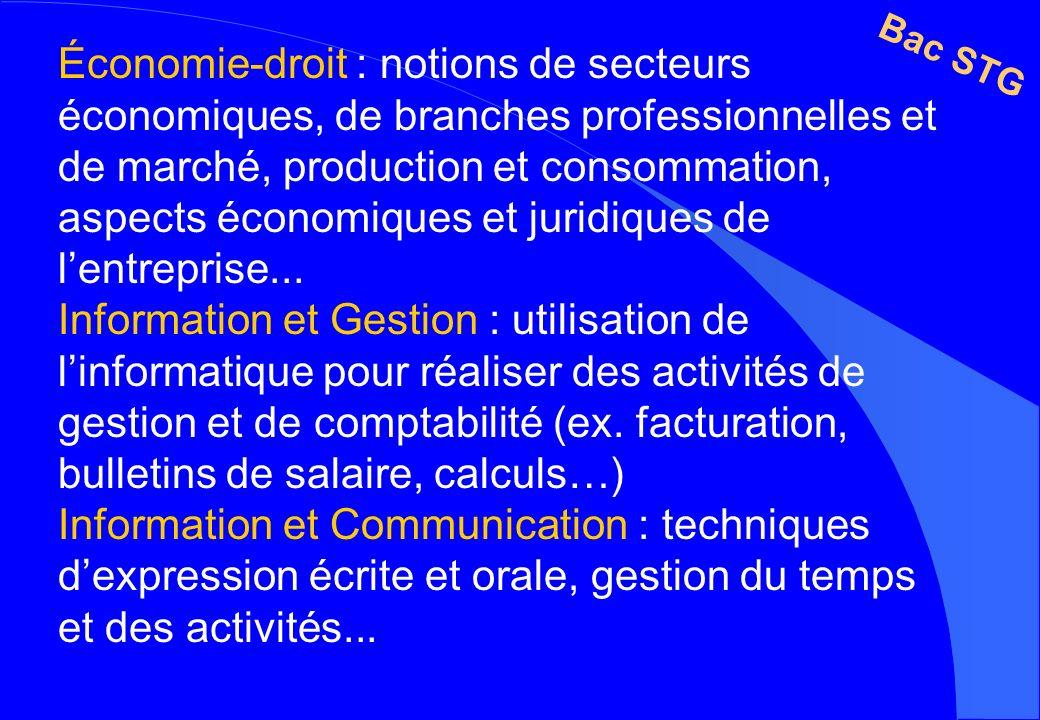 Économie-droit : notions de secteurs économiques, de branches professionnelles et de marché, production et consommation, aspects économiques et juridiques de l'entreprise...