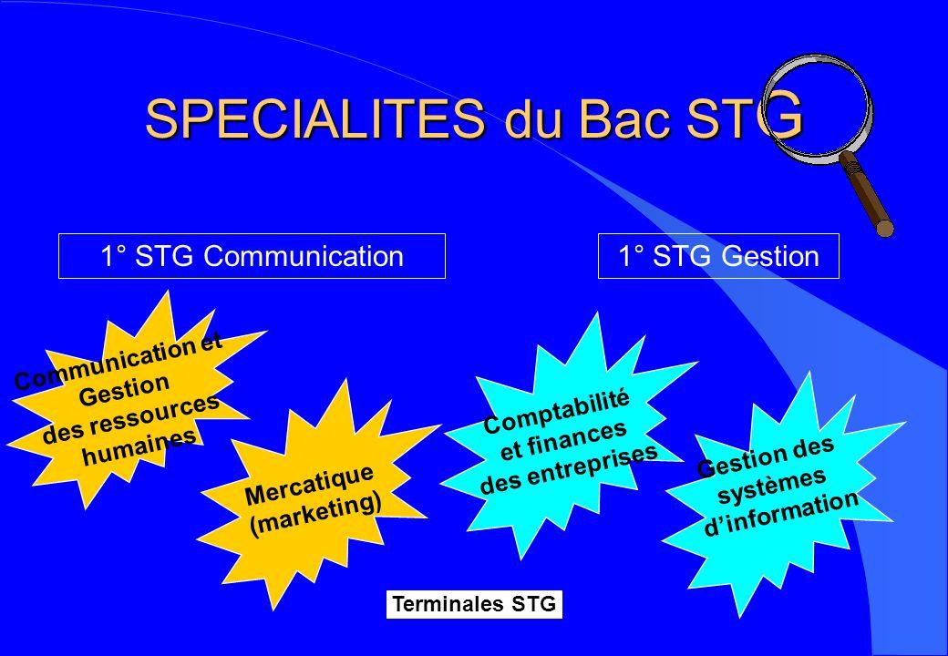 SPECIALITES du Bac STG 1° STG Communication 1° STG Gestion
