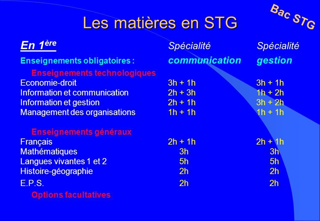 Les matières en STG Bac STG En 1ère Spécialité Spécialité