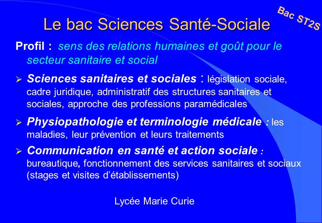 Le bac Sciences Santé-Sociale