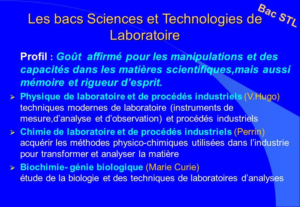 Les bacs Sciences et Technologies de Laboratoire