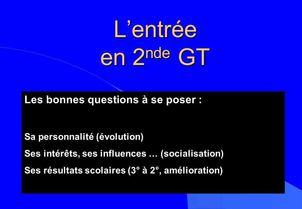 L'entrée en 2nde GT Les bonnes questions à se poser :