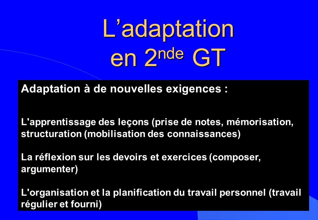 L'adaptation en 2nde GT Adaptation à de nouvelles exigences :