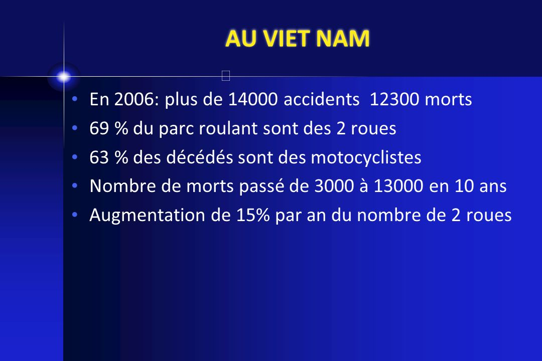 AU VIET NAM En 2006: plus de 14000 accidents 12300 morts