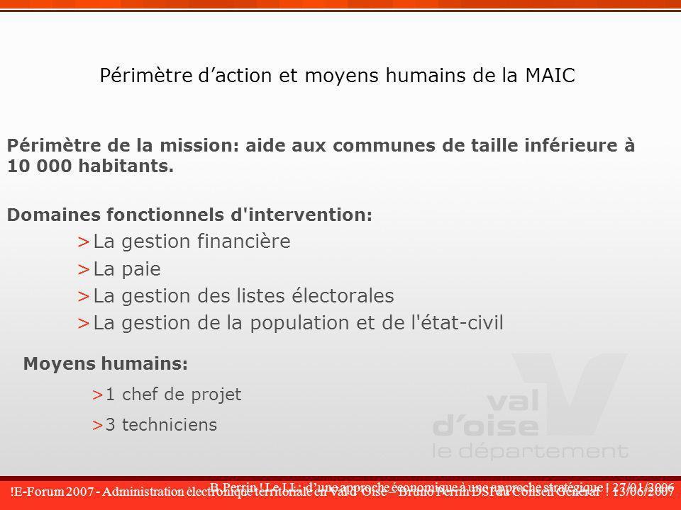Périmètre d'action et moyens humains de la MAIC