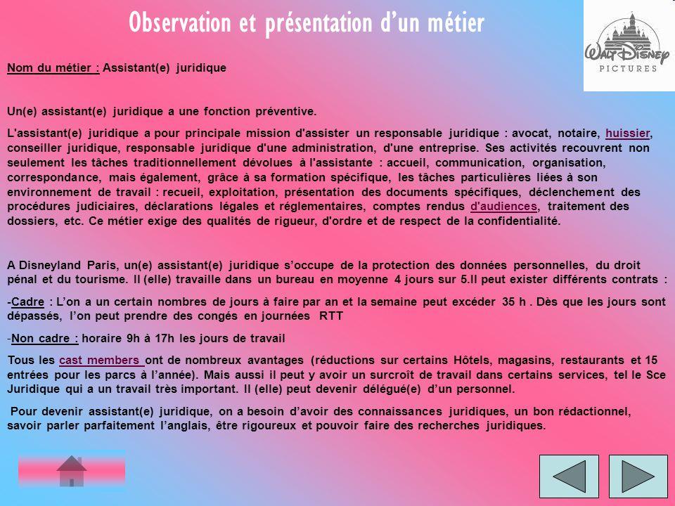 Observation et présentation d'un métier