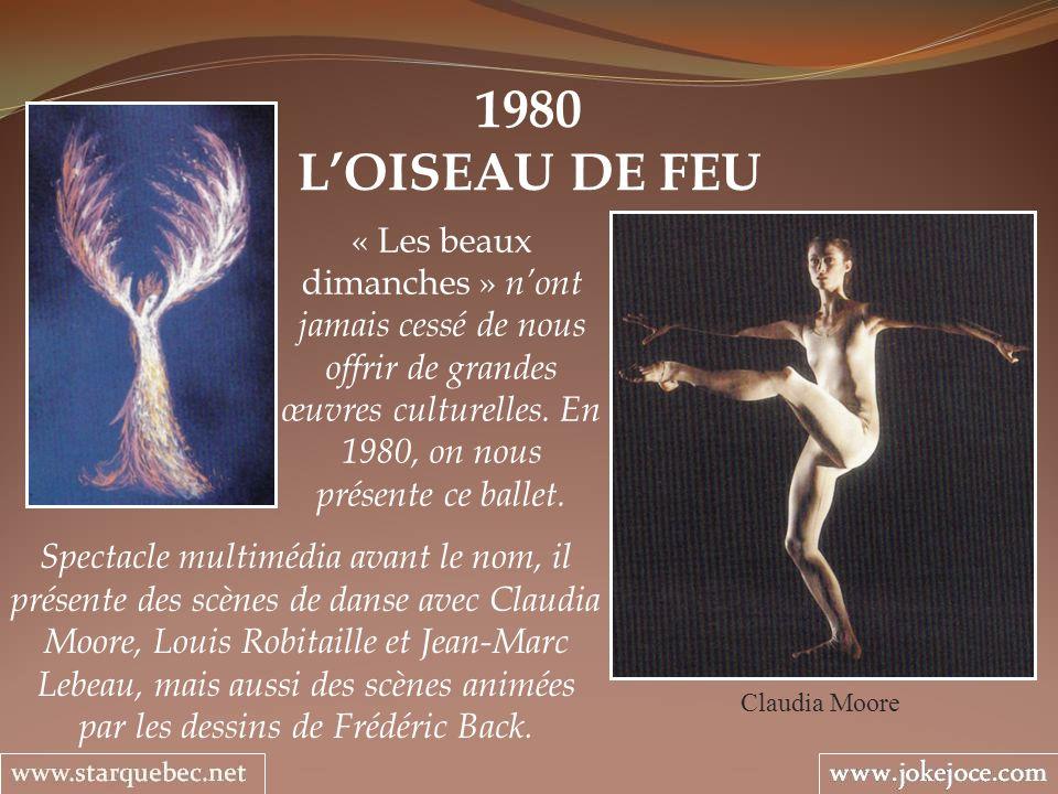 1980 L'OISEAU DE FEU. « Les beaux dimanches » n'ont jamais cessé de nous offrir de grandes œuvres culturelles. En 1980, on nous présente ce ballet.