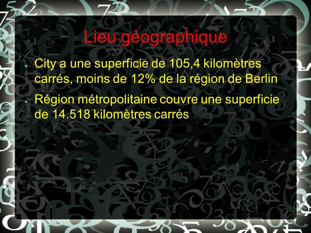 Lieu géographique City a une superficie de 105,4 kilomètres carrés, moins de 12% de la région de Berlin.