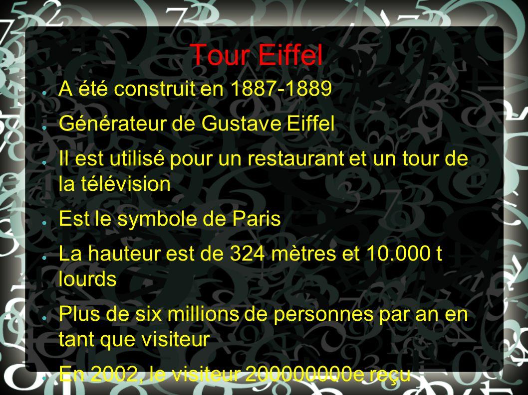 Tour Eiffel A été construit en 1887-1889 Générateur de Gustave Eiffel