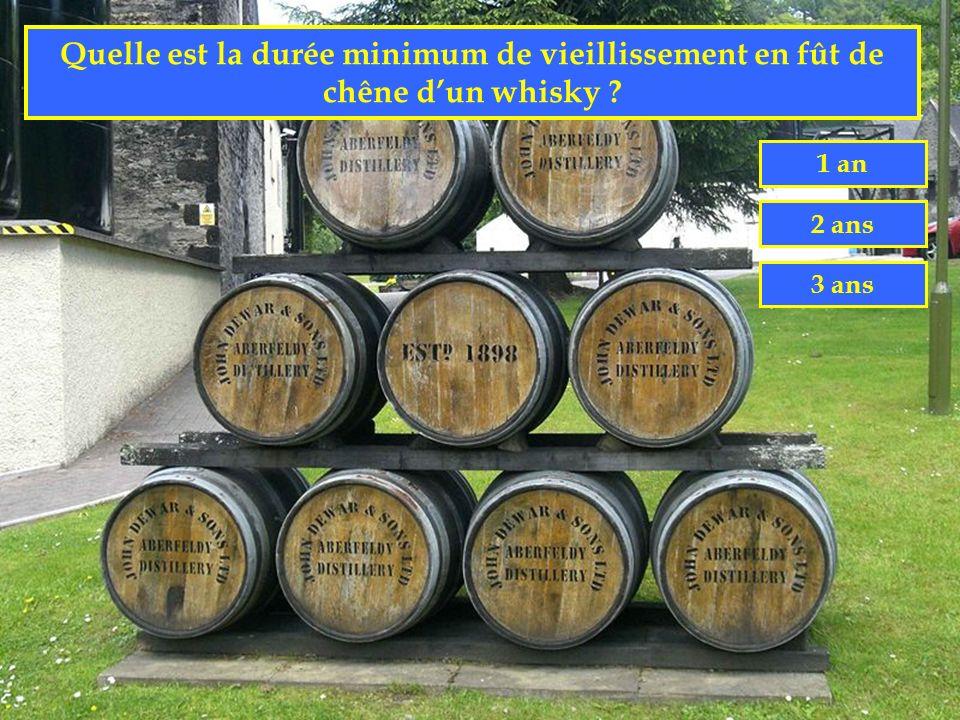 Quelle est la durée minimum de vieillissement en fût de chêne d'un whisky