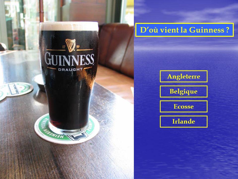 D'où vient la Guinness Angleterre Belgique Ecosse Irlande