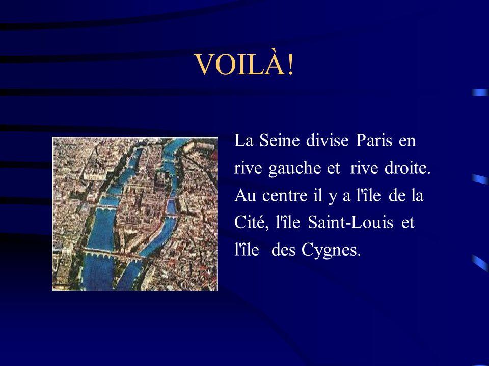 VOILÀ! La Seine divise Paris en rive gauche et rive droite.