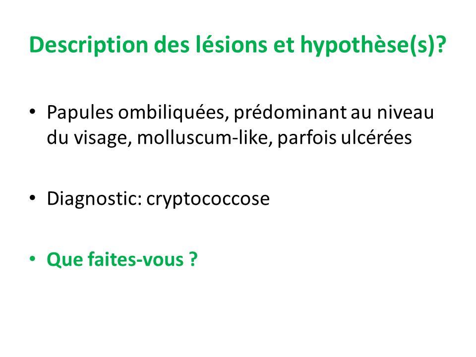 Description des lésions et hypothèse(s)