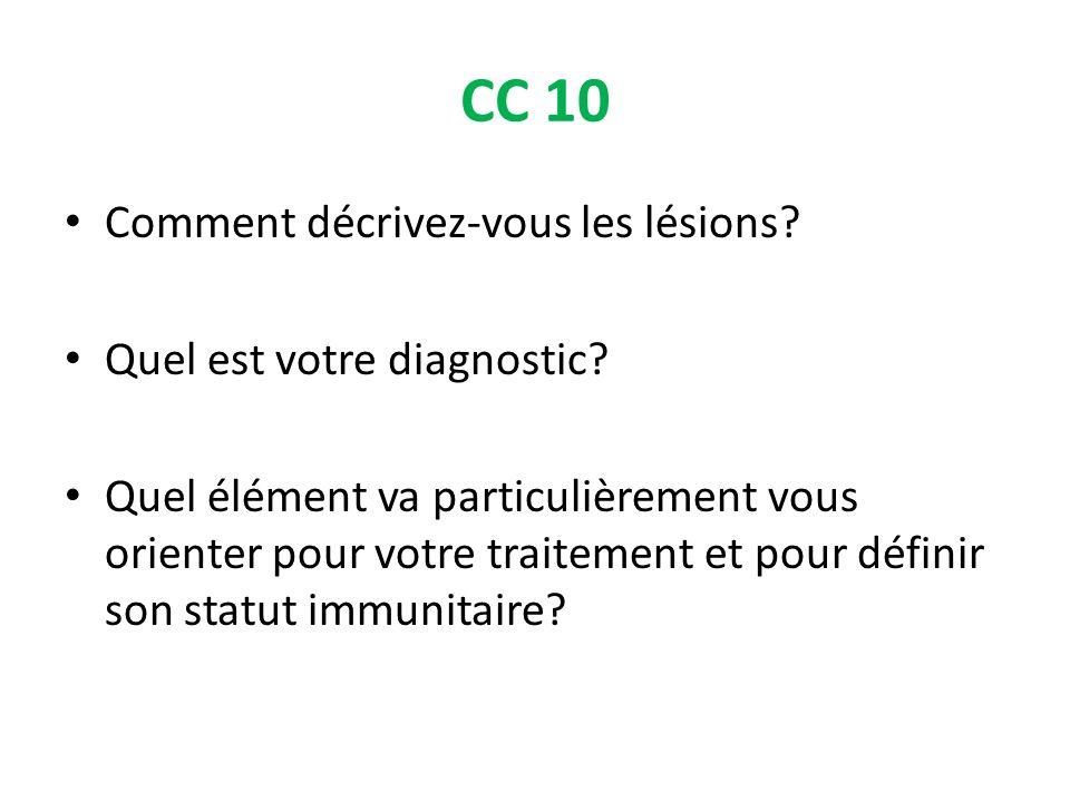 CC 10 Comment décrivez-vous les lésions Quel est votre diagnostic