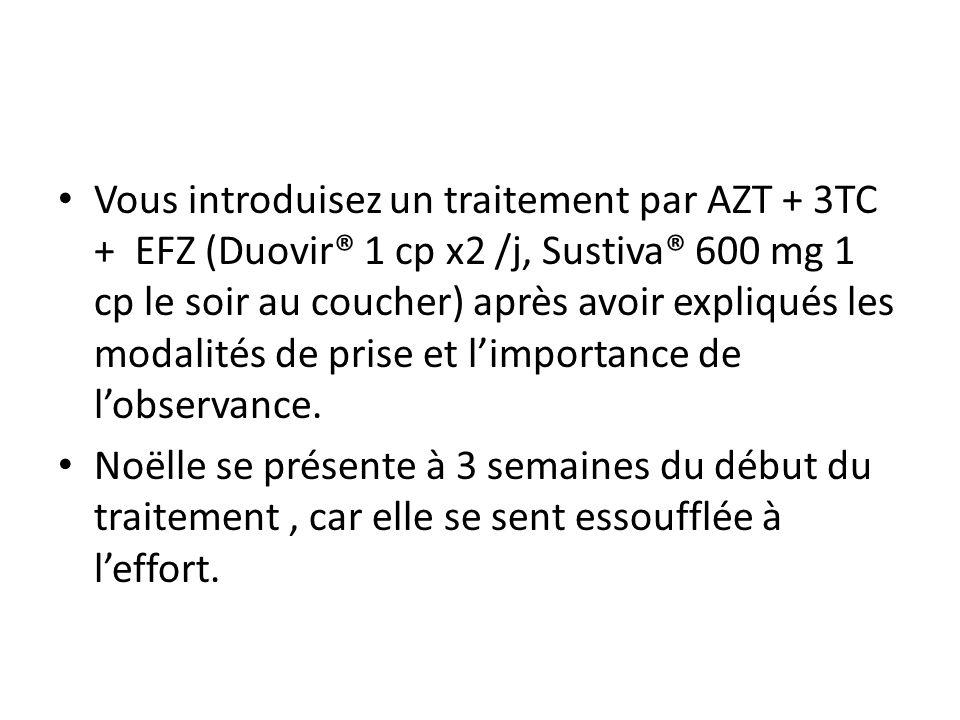 Vous introduisez un traitement par AZT + 3TC + EFZ (Duovir® 1 cp x2 /j, Sustiva® 600 mg 1 cp le soir au coucher) après avoir expliqués les modalités de prise et l'importance de l'observance.