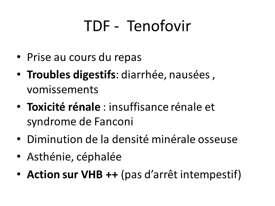 TDF - Tenofovir Prise au cours du repas