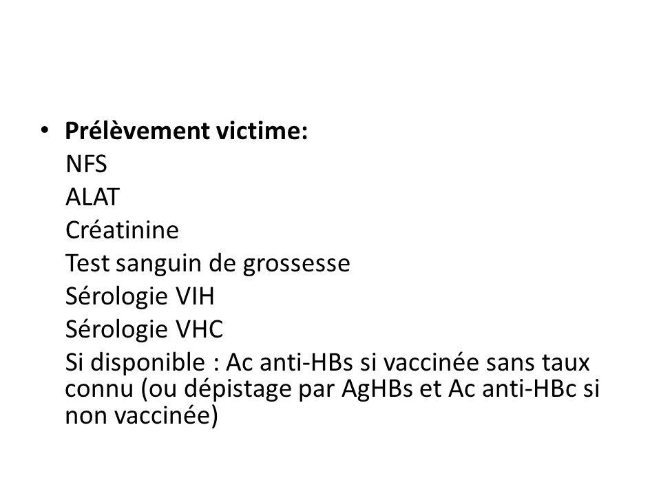 Prélèvement victime: NFS. ALAT. Créatinine. Test sanguin de grossesse. Sérologie VIH. Sérologie VHC.