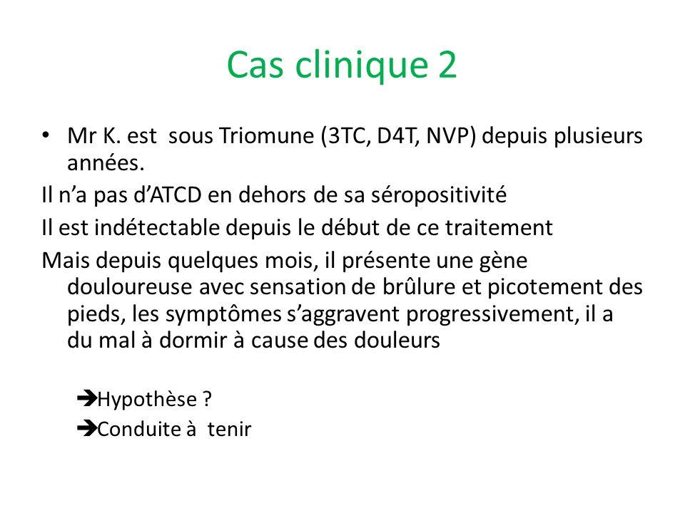 Cas clinique 2 Mr K. est sous Triomune (3TC, D4T, NVP) depuis plusieurs années. Il n'a pas d'ATCD en dehors de sa séropositivité.