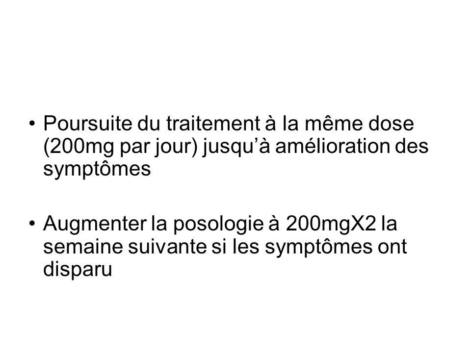 Poursuite du traitement à la même dose (200mg par jour) jusqu'à amélioration des symptômes