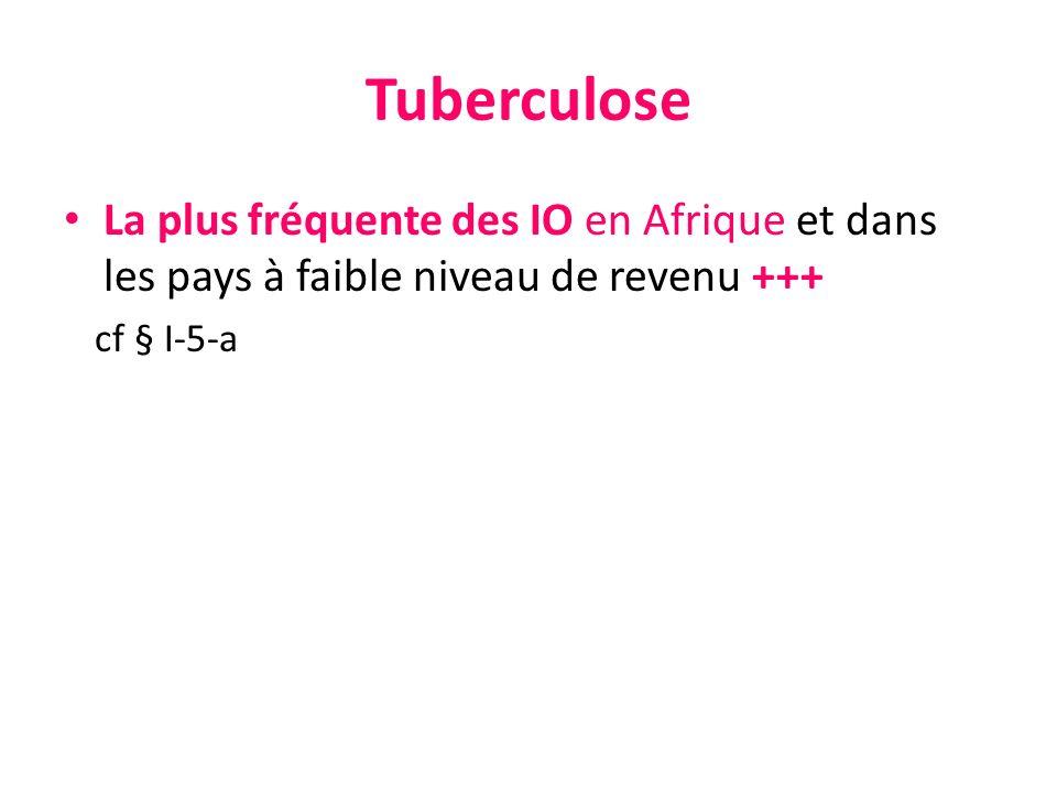 Tuberculose La plus fréquente des IO en Afrique et dans les pays à faible niveau de revenu +++ cf § I-5-a.