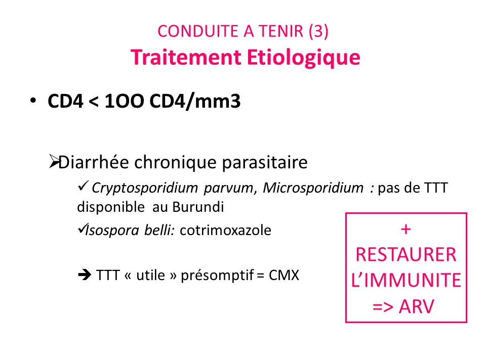CONDUITE A TENIR (3) Traitement Etiologique