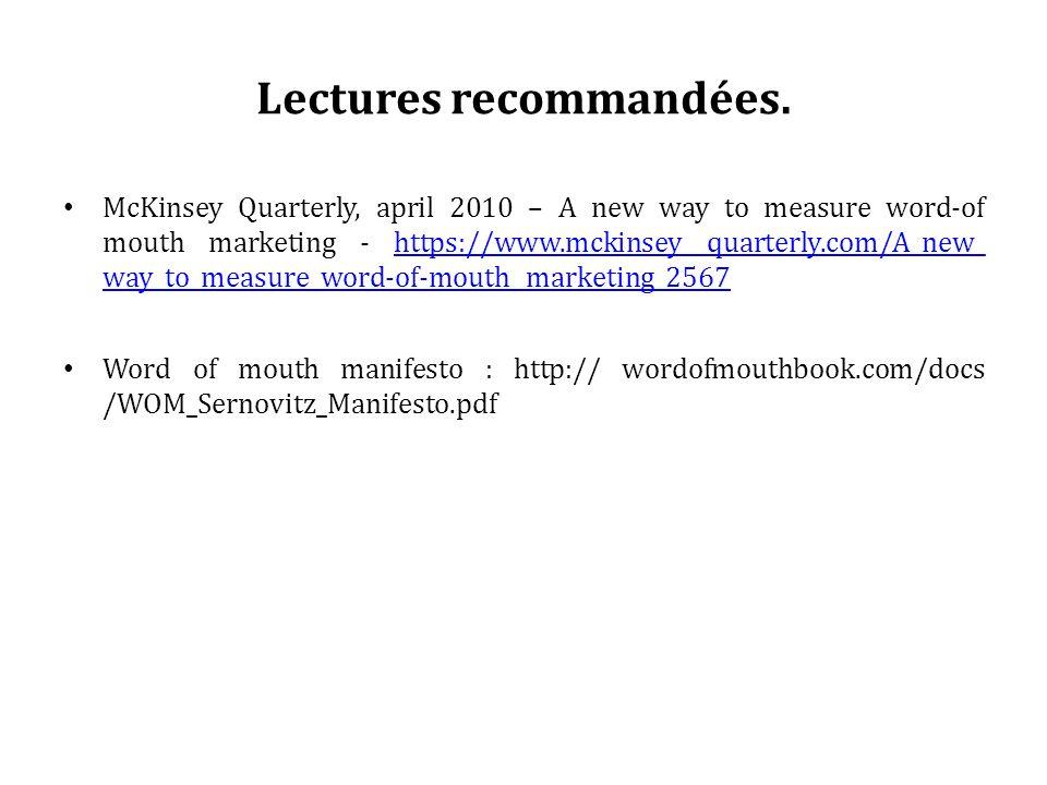 Lectures recommandées.