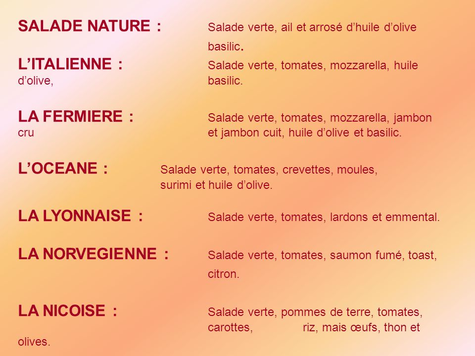 SALADE NATURE : Salade verte, ail et arrosé d'huile d'olive basilic.