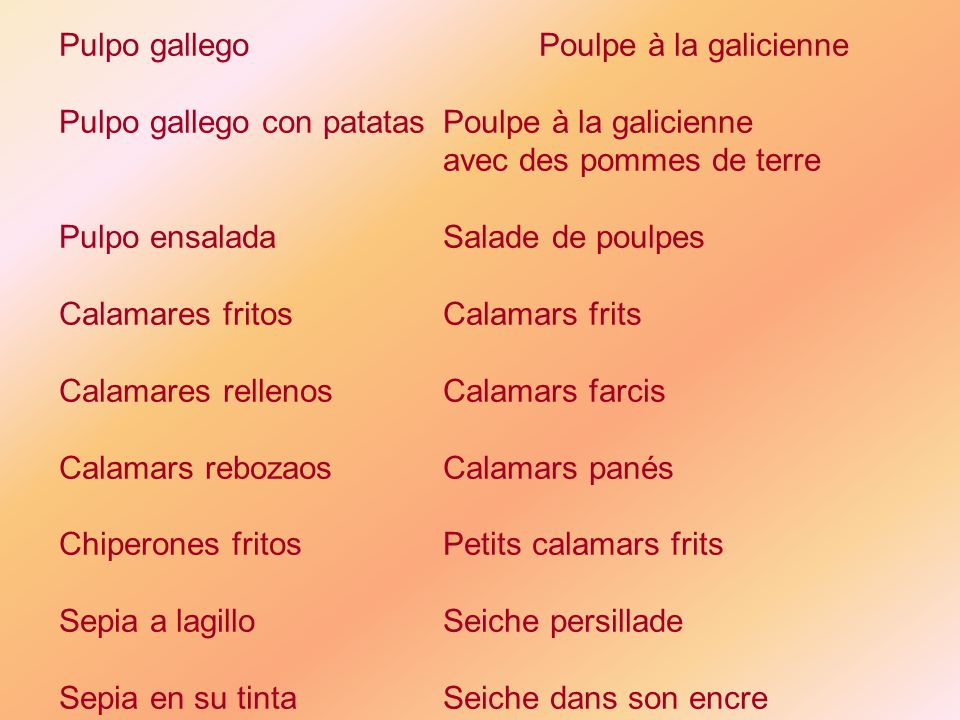 Pulpo gallego Poulpe à la galicienne
