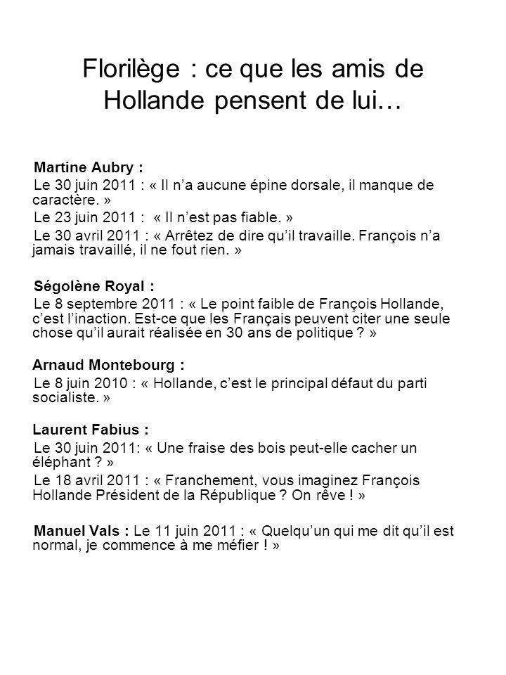 Florilège : ce que les amis de Hollande pensent de lui…