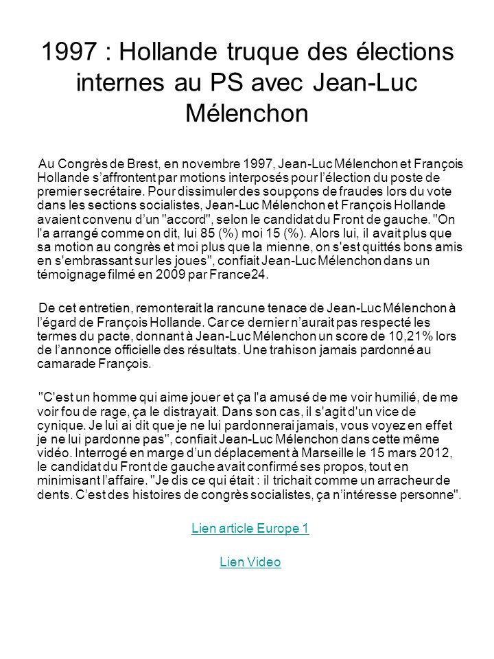1997 : Hollande truque des élections internes au PS avec Jean-Luc Mélenchon
