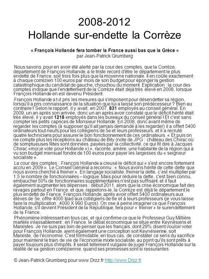 2008-2012 Hollande sur-endette la Corrèze