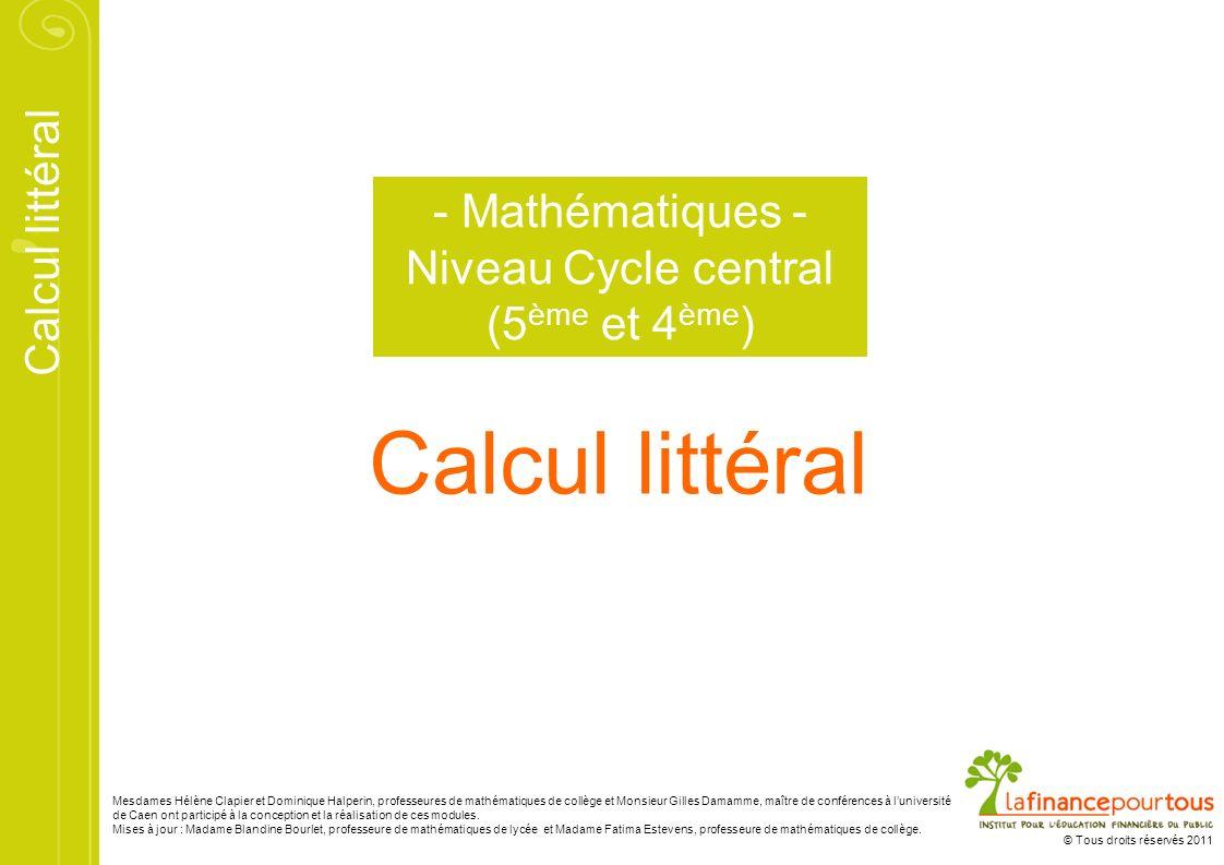 - Mathématiques -Niveau Cycle central (5ème et 4ème)