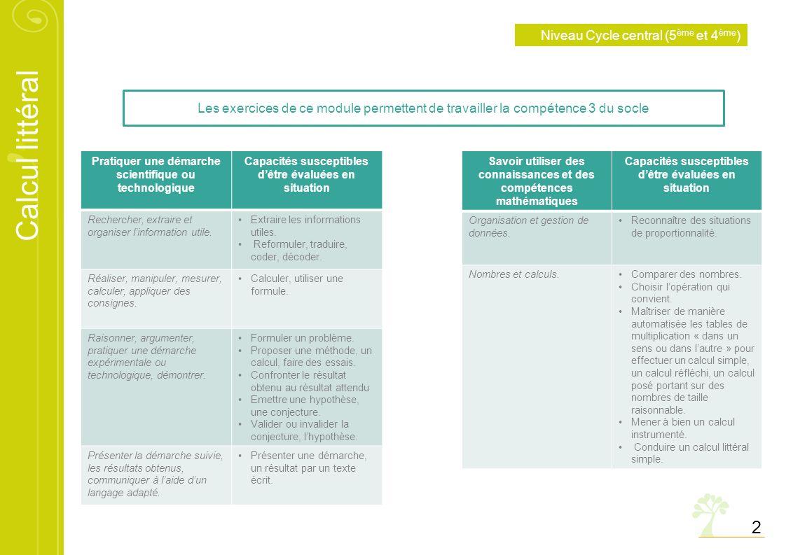 2 Niveau Cycle central (5ème et 4ème)