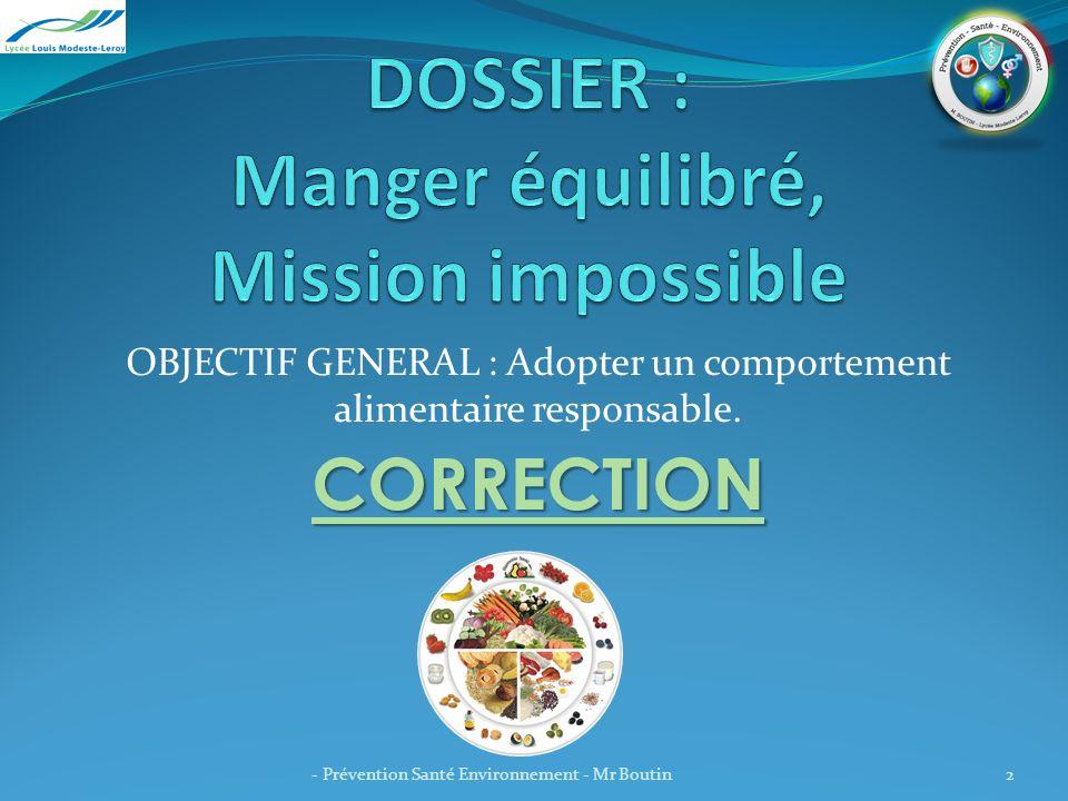 DOSSIER : Manger équilibré, Mission impossible