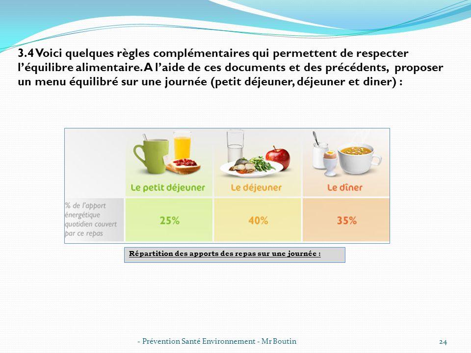 3.4 Voici quelques règles complémentaires qui permettent de respecter l'équilibre alimentaire. A l'aide de ces documents et des précédents, proposer un menu équilibré sur une journée (petit déjeuner, déjeuner et diner) :
