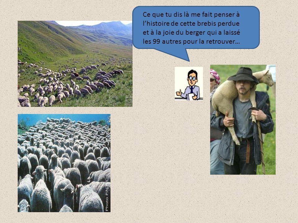 Ce que tu dis là me fait penser à l'histoire de cette brebis perdue et à la joie du berger qui a laissé les 99 autres pour la retrouver…