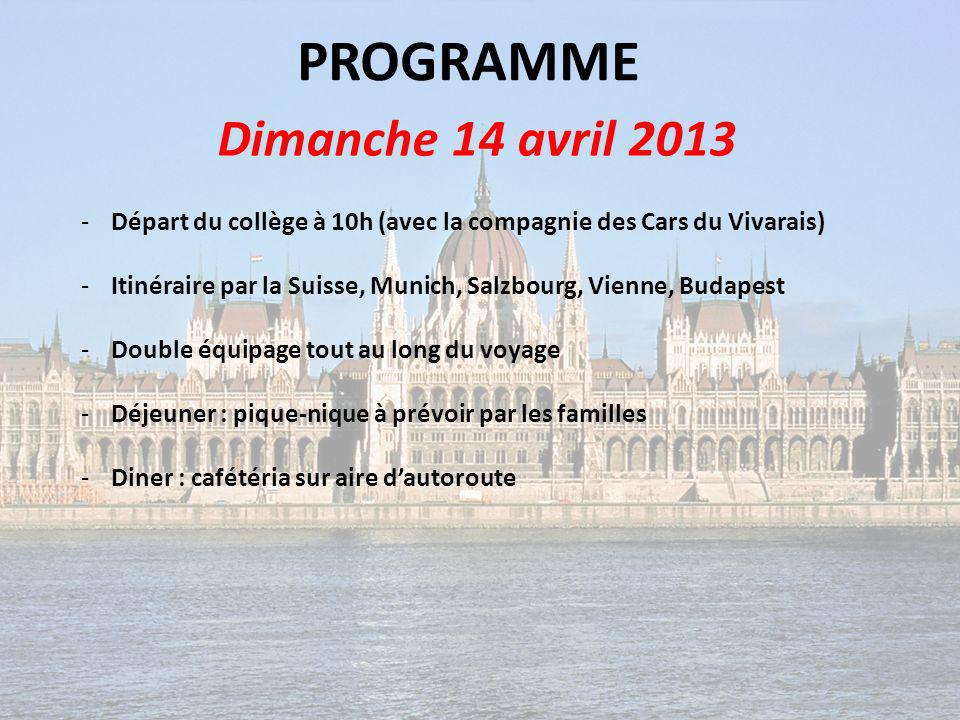 PROGRAMME Dimanche 14 avril 2013