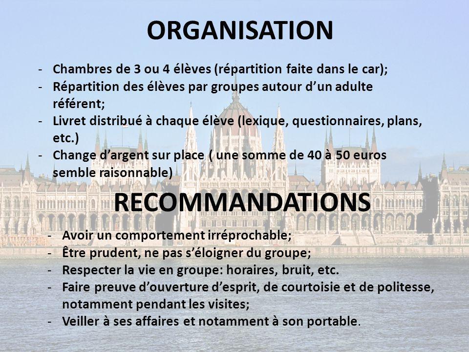 ORGANISATION RECOMMANDATIONS