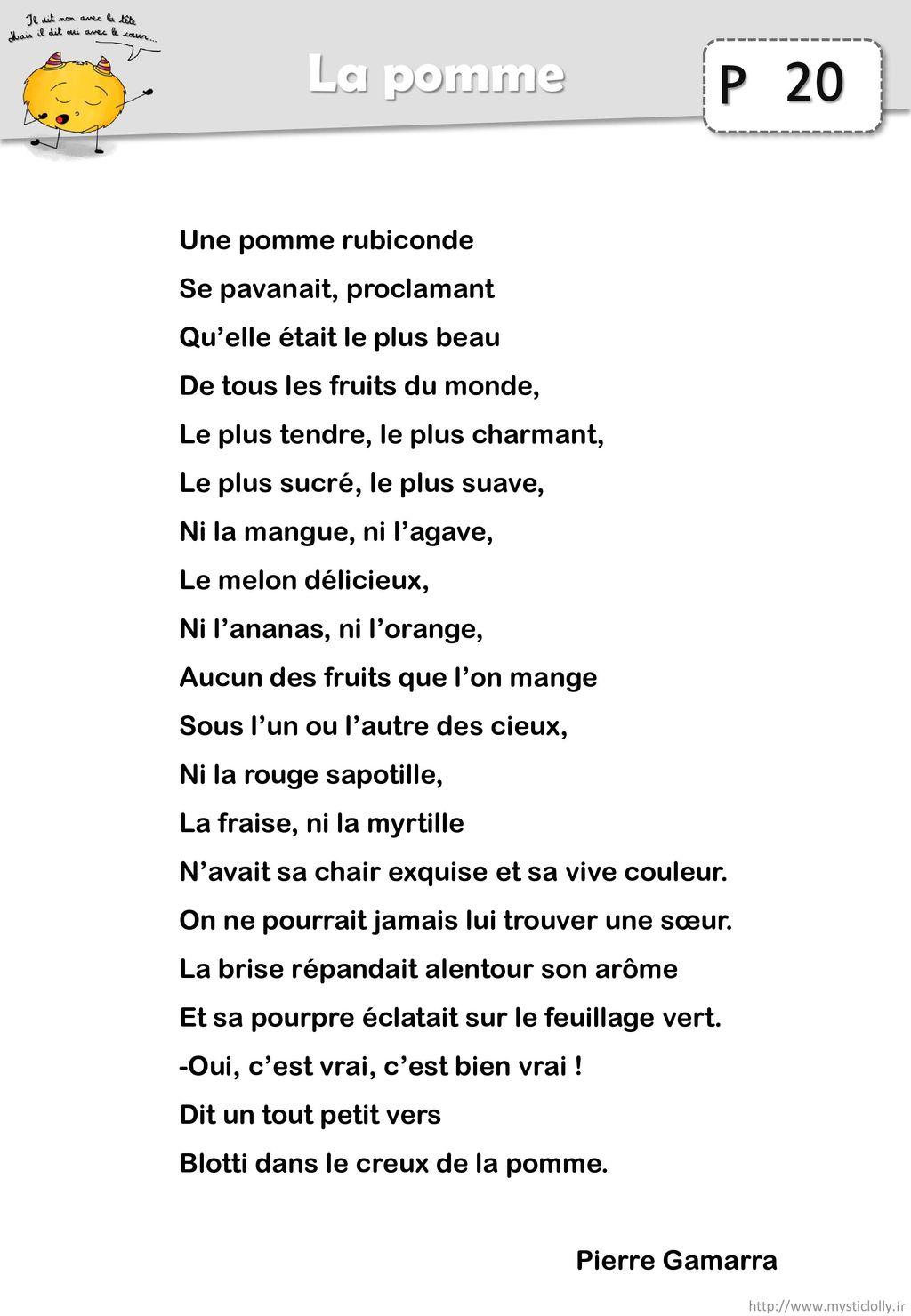 20 La pomme Une pomme rubiconde Se pavanait, proclamant