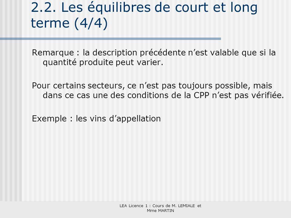2.2. Les équilibres de court et long terme (4/4)