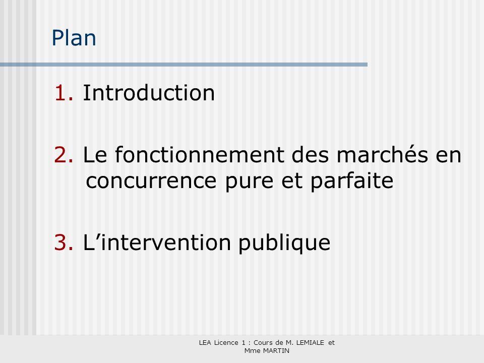 LEA Licence 1 : Cours de M. LEMIALE et Mme MARTIN