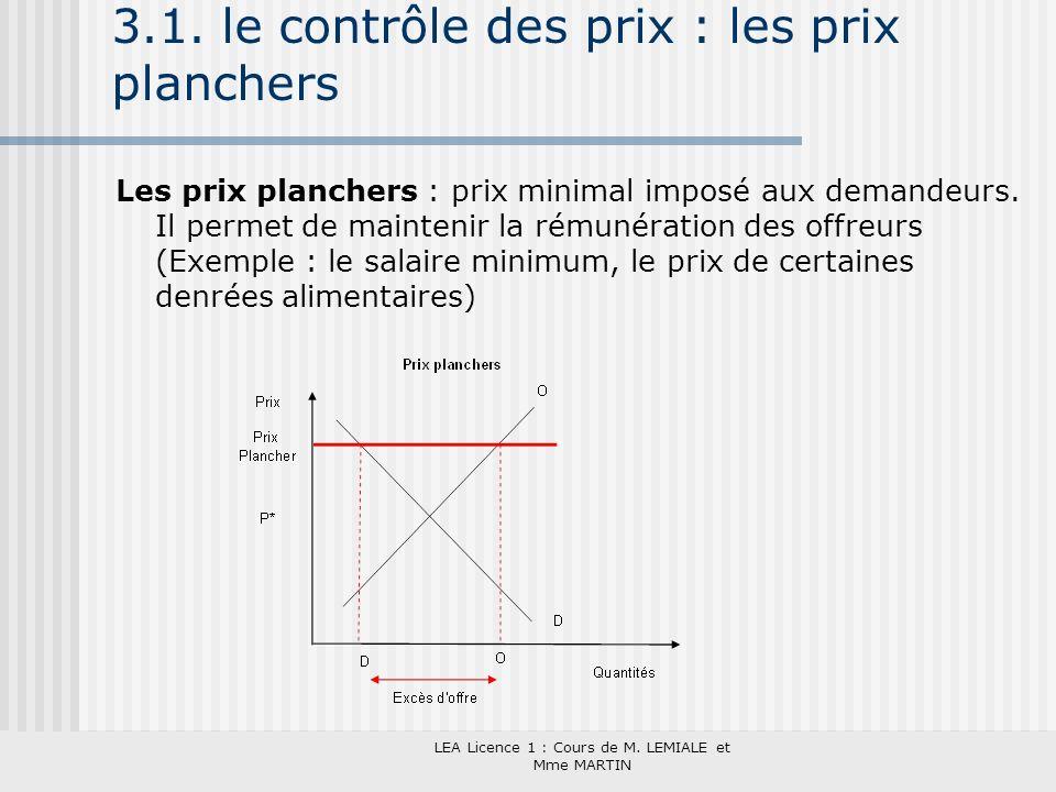 3.1. le contrôle des prix : les prix planchers